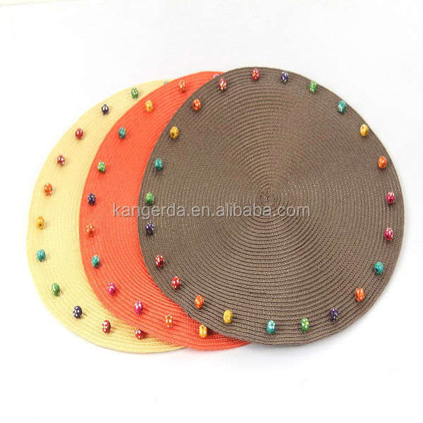 wood beaded placemat/plastic tablemat/round mat