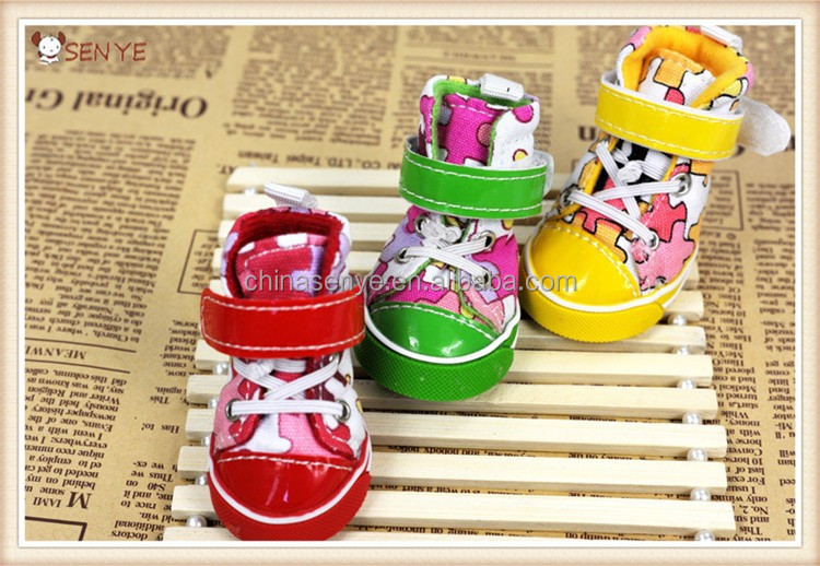 Colorful mosaic dog shoes with magic tape warm dog boots for winter dog board shoes whith gum sole