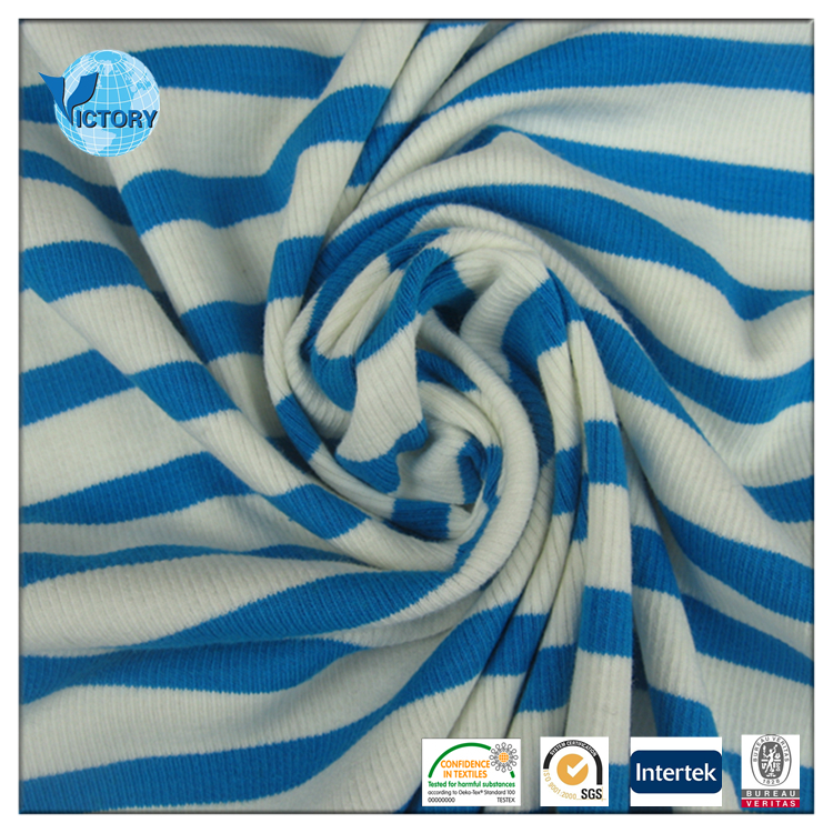 95/5 Cotton Spandex Yarn Dyed Stripe 2x2 Rib Knitting Rib Cuff T-shirt Collar Knitted Fabrics