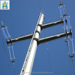 132kv electric power transmission line steel pole tower for electrical line