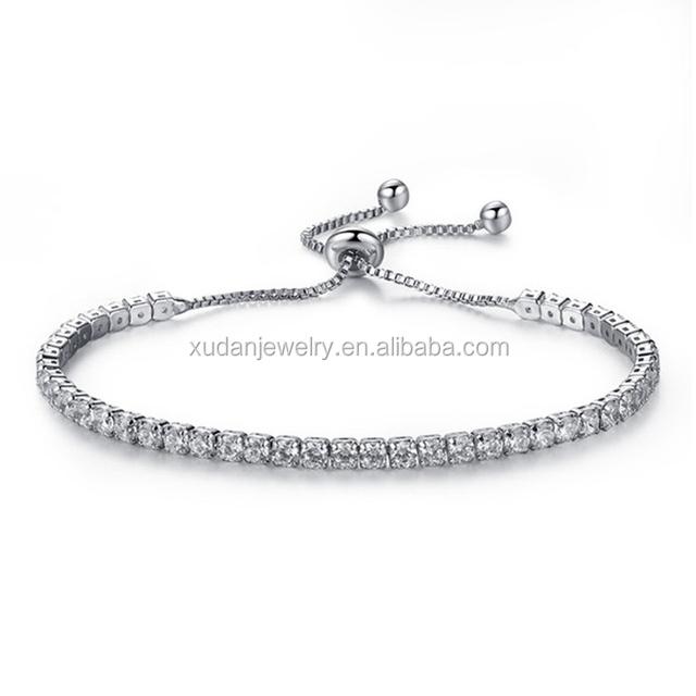 AAA Zircon Tennis Bracelet For Women Shining Silver Blue Green Purple Black Birthstone Crystal Bracelet Jewelry