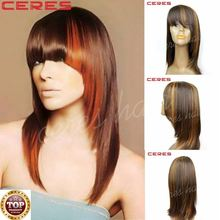 cheap wholesale price Brazilian human hair wig lace front highlights dark blonde color shoulder length