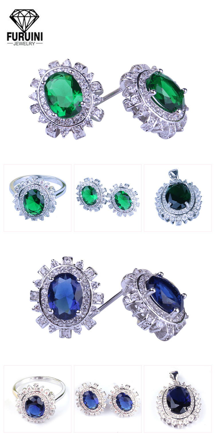 Green color wholesale 925 silver wedding dress 물 drop jewelry set 대 한 women