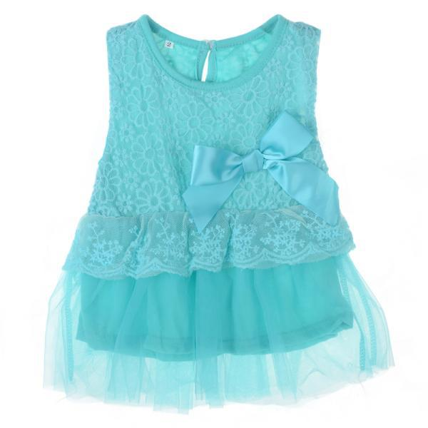 Girl Baby Princess Lace Clothing Bebes Mesh Bow Dress Summer Cotton O-neck Sleeveless Lace Floral Bow Mini Dress For Baby Girls