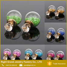 Cheap 12mm crystal pearl Bubble double ball earring studs