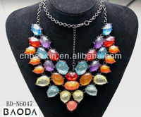 2013 New design jewelry elegant coloful necklace with diamonds for wedding