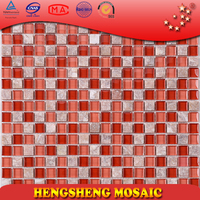 KS40 Red crackle crystal glass mixed white stone mosaic Interior decoration wall tile