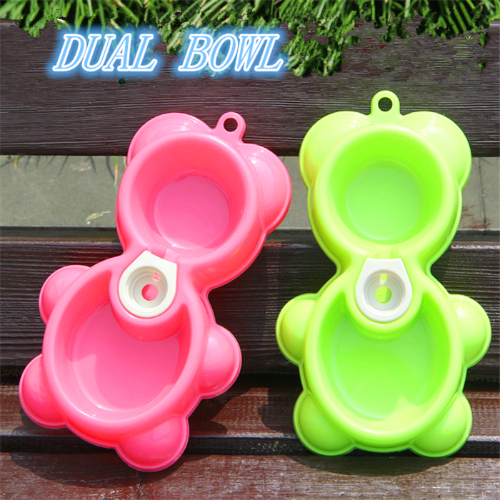 High Quality Multicolour Double Bowl Bear Shape Pet Bowl Dog Bowl For Sale