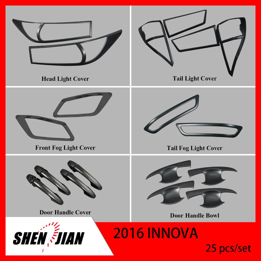 Complete full set 25PCS DOOR MIRROR HANDLE BOWL COVER PLASTIC CHROME REARVIEW FOR TOYOTA INNOVA 2016 CAR 4x4 offroad accessories