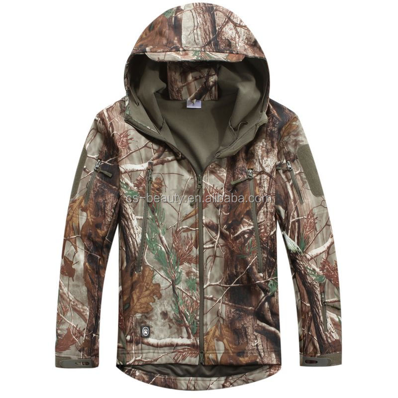 Leaf camo outdoor Training Army jacket Softshell of the skin of the shark Skin Winter warmer jacket
