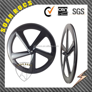 carbon road wheels 65mm clincher 3K glossy finish disc hub front wheel Bend 5 spokes wheelset
