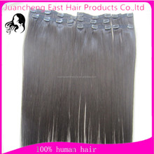 7/8 pieces 100% virgin human hair extensions clip in hair extensions full head clip on hair extensions