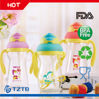 BPA free child non-spilt plastic sippy water cup with straw