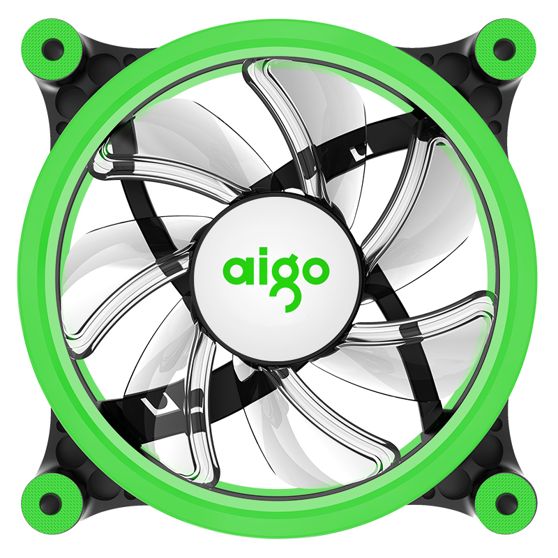aigo Z6 LED fan double ring fan green color 1200 RPM