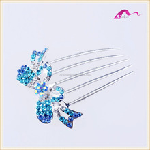 Elegant Top Quality Wedding Headwear Bling Crystal Bowknot Hair combs For Women Hair Ornament
