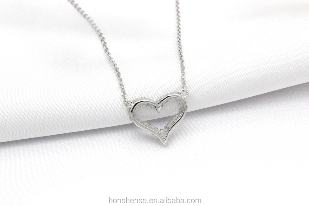 Latest Fashionable White Gold Plated CZ Heart Charm Silver Pendant Necklace
