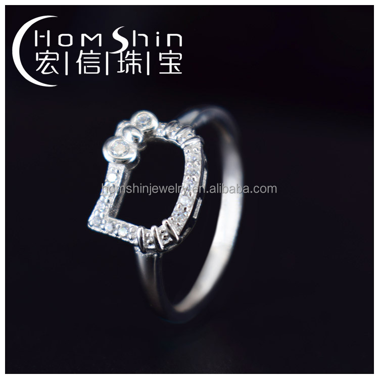 Lovely Kitty silver cz ring