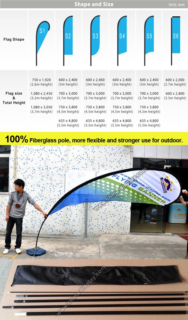 Outdoor advertising fiberglass pole feather polyester flag teardrop banner, outdoor teardrop flag beach flag