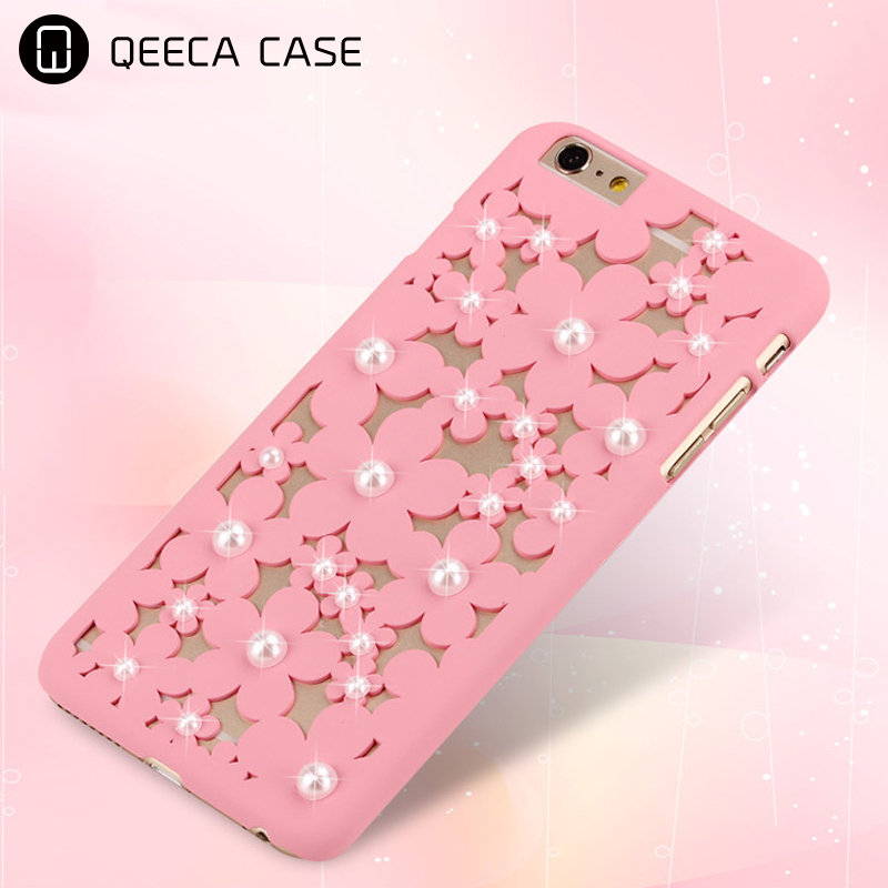 Daisy pattern pearl decoration hollow cut design PC back phone case for iPhone 5 / 6/6S