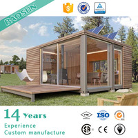 one-floor wooden exterior fin prefabricated modular house or home with galvanized light steel keel