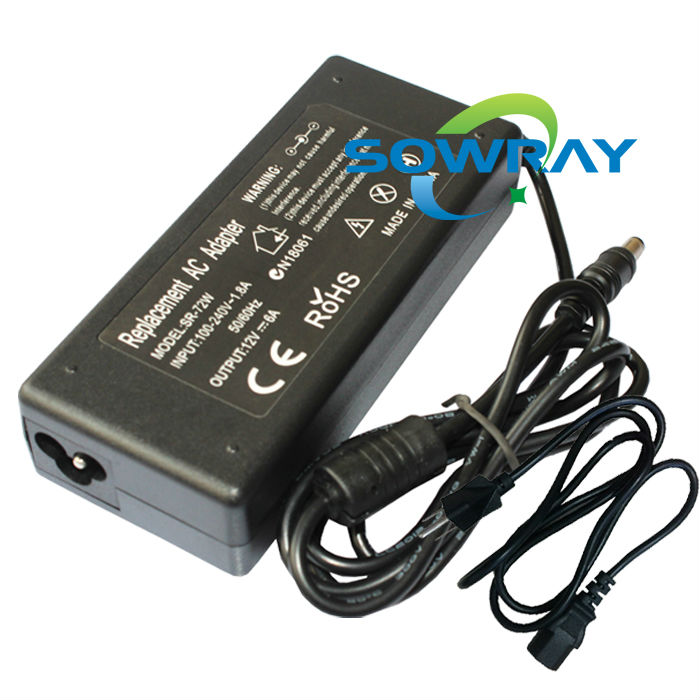 lcd ac dc adapter 12V 6A dc 5.5*2.5mm power 72W LCD Monitor CH-1204 CH-1205 Power Supply