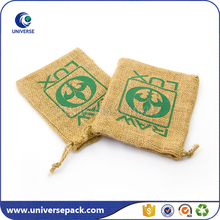 Recyclable Drawstring Burlap Small Coffee Pouches With Logo