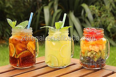 AMOS Clear Glass Drinking Mason Jam Jars Cocktail Handled Glasses Lids & Straws