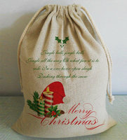 Custom Merry Christmas Gifts Bags Cotton Linen Canvas Drawstring Bag Dust Bags