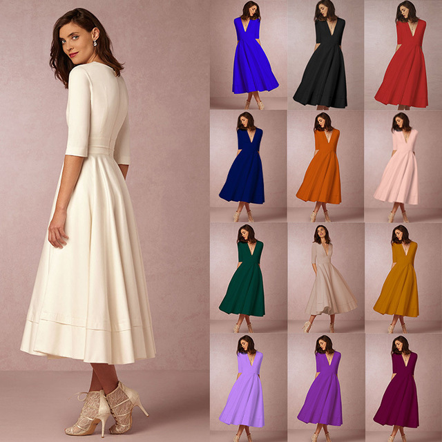 Women Assorted Colors Sexy Elegant Half Sleeve V Neck Swing Dress