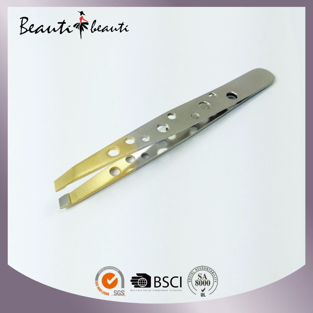 2016 Hot Sales High Quality Stainless Steel Dual Colour Slant Tweezers by ISO & SA8000 Factory