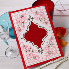 2016 Fany Embossed and Foiling White and Red Invitation Card