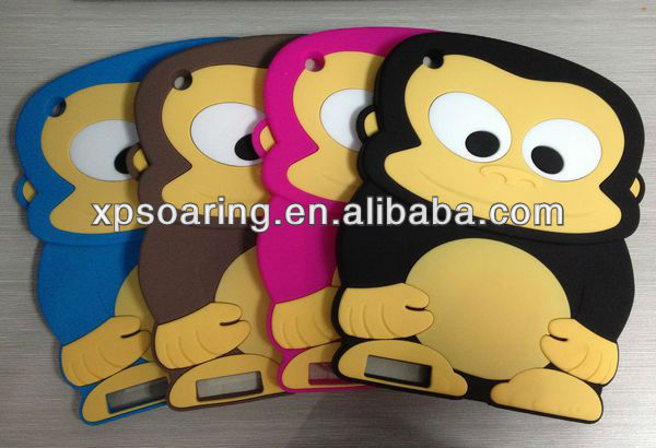 3D monkey silicone case skin cover for ipad 3 ipad 4