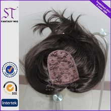 Med length dark brown hair piece toupee wig for bald women