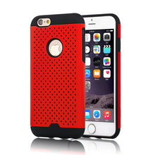 Mesh Polka Dot Hybrid Skin Case for Iphone 6/6S/6 Plus/6S Plus With Heat Radiation Function