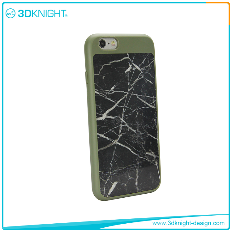 Natural Green TPU +black marble phone case for iphone 6