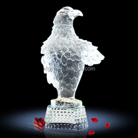 White Eagle 3d Glass Carving Sculpture