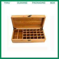 new design bamboo material hot sale essential oil box for 24 bottles