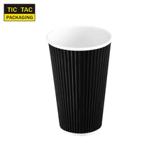 16oz Disposable black ripple wall hot cup hot drink paper cup