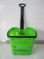 55L With Wheels Big Size Rolling Plastic Shopping Basket