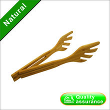 VINTAGE WOODEN BREAD TONGS SALAD FORK TONGS ANGEL WINGS