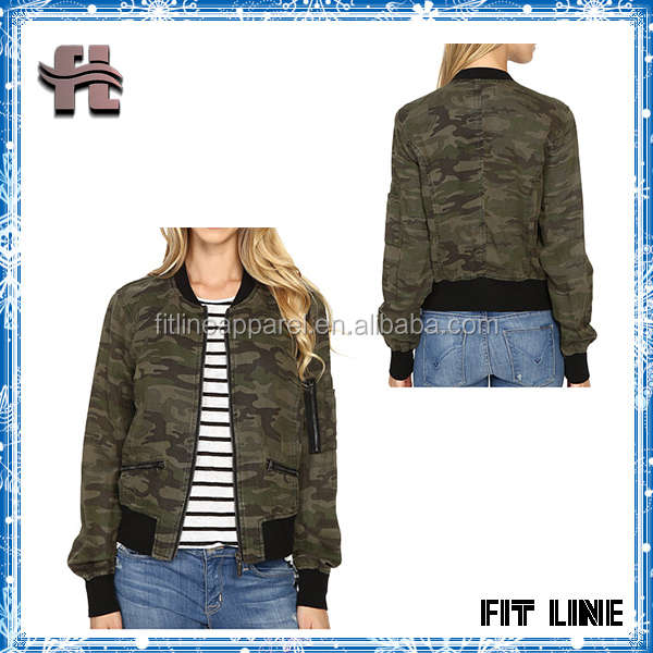 Polyester Camo Pattern Womens Bomber Jacket With Sleeve Pocket