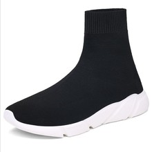 Adult Men Ankle Casual Shoes Knit Sock Mid-Top Sneakers Slip On