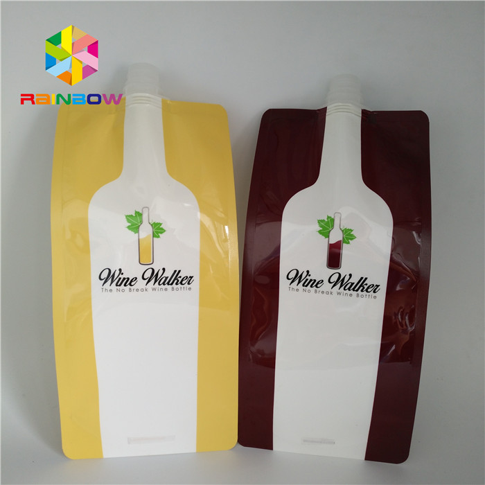 custom print plastic liquid stand up food spout pouch / disposable drinking squeeze lip bags