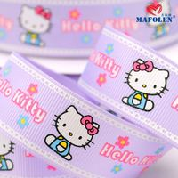 cartoon printed grosgrain ribbon make hello kitty hair accessories