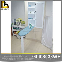 White Saving Space wall mounted floating ironing board storage cabinet