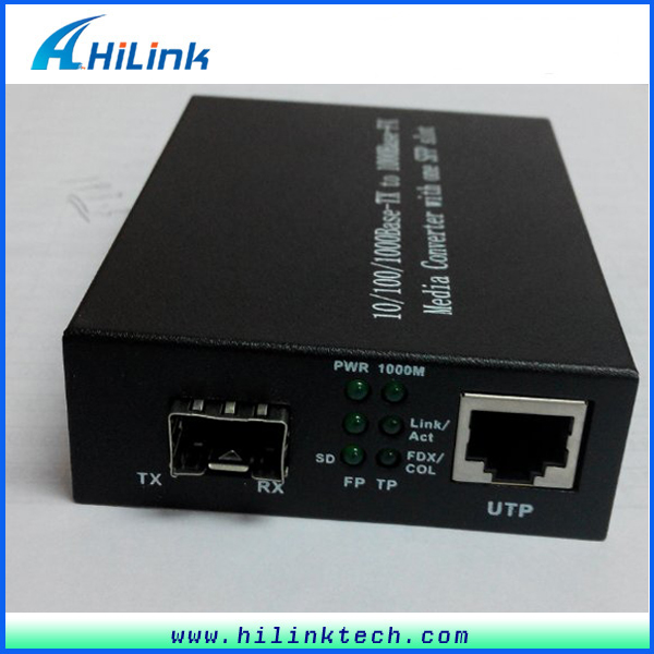 1000M SFP Port Fiber Optic Media Converter RJ45 SC Connector