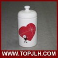 China supplier sublimation logo printed storage can ceramic seal pot