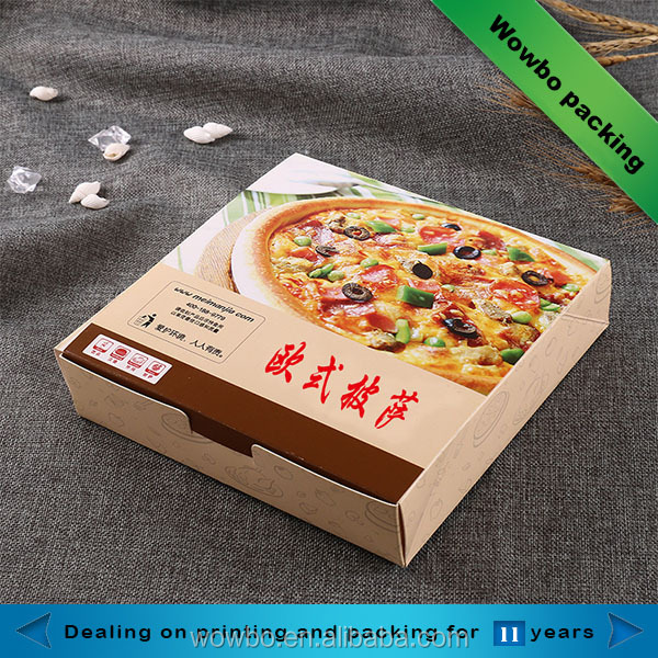 10/12/15'' Flat folding custom printed take out delivery grease proof pizza box