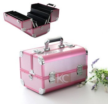 high quality aluminum finished pink framed professional cosmetic makeup organizer box