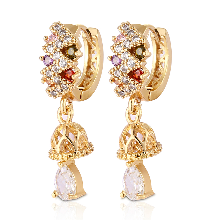 HD 2018 New Fashion Luxury Hot Sale Fashion 18K Gold Plated Huggies <strong>Earring</strong> For Women